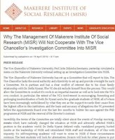 Why the Management of Makerere Institute of Social Research (MISR) will not Cooperate with the VC